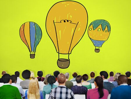 freedom of thought: Hot Air Balloon Bulb Ideas Imagination Flight Concept