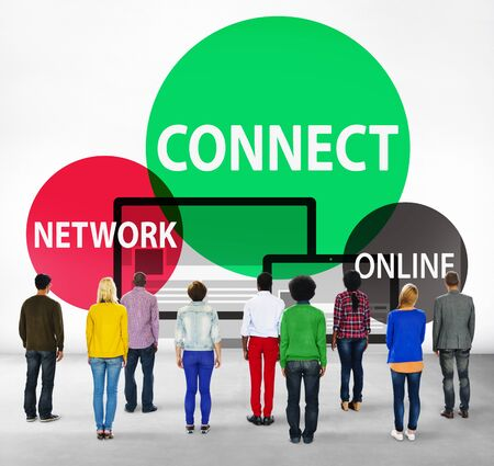 facing backwards: Connect Network Integrated Online Web Concept Stock Photo