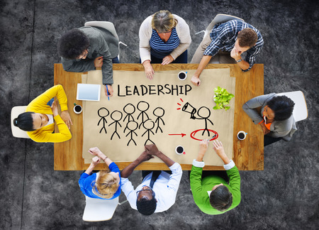 business leadership: People in a Meeting and Leadership Concept Stock Photo