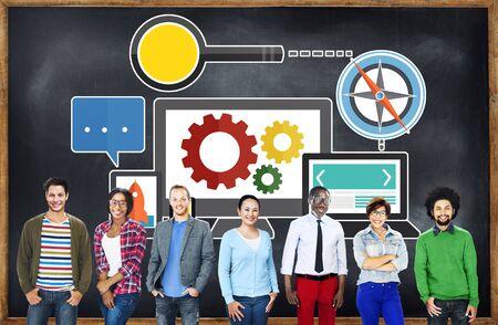 diverse students: Search Engine Optimization Online Technology Web Concept