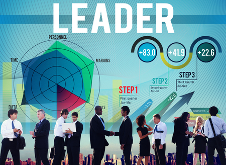 Leader and charts concept with business people