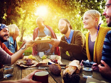 sharing food: Diverse People Luncheon Outdoors Food Concept