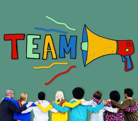 facing backwards: Team Teamwork Corporate Partnership Collaboration Concept Stock Photo