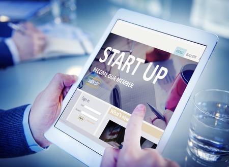 start up: Start up Registration Member Joining Account Concept
