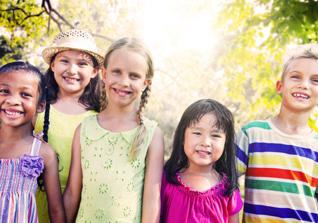 children hands: Diversity Friends Children Park Happiness Concept