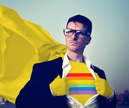 empowerment: Rainbow Strong Superhero Success Professional Empowerment Stock Concept