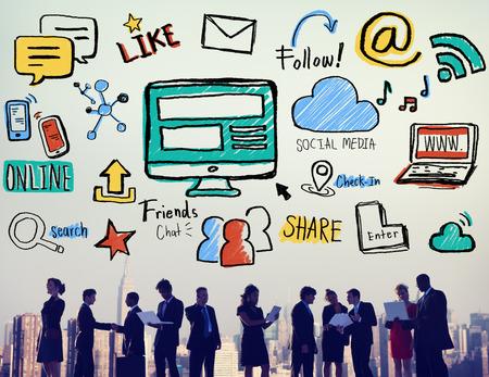 trabajo social: Tecnolog�a Redes sociales Social Media Concept Conexi�n Foto de archivo