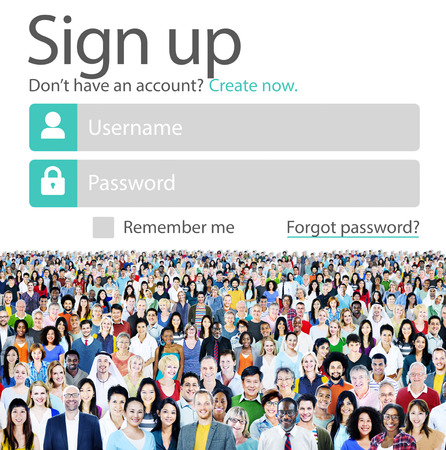 web security: Sign Up Usename Password Log In Protection Concept