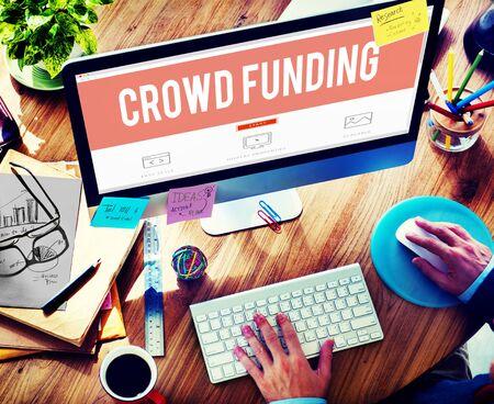 multitud de gente: Multitud Financiación Contribución Donar Fundriser Concepto Foto de archivo