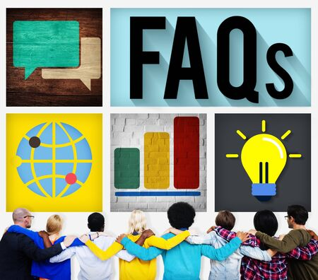 facing backwards: FAQs Guidance Answers Questions Feedback Concept Stock Photo