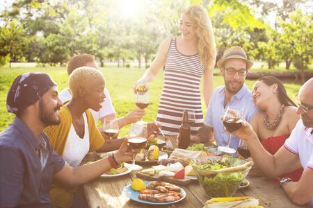 out to lunch: Friends Outdoors Party Celebration Hanging out Concept