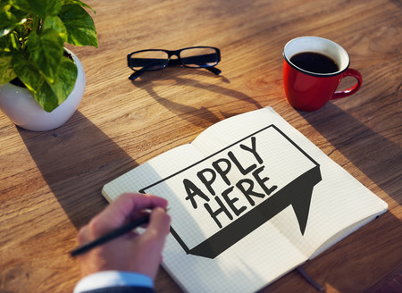 Apply Here Opportunity Hire Employment Concept Banco de Imagens