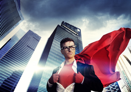 challenging: Superhero Businessman Strength Cityscape Cloudscape Concept Stock Photo