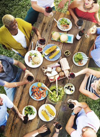outdoors: Friends Friendship Outdoor Dining People Concept Stock Photo
