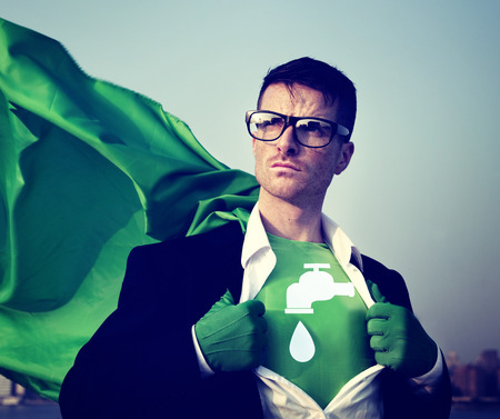 faucet water: Water Saving Strong Superhero Success Professional Empowerment Stock Concept Stock Photo