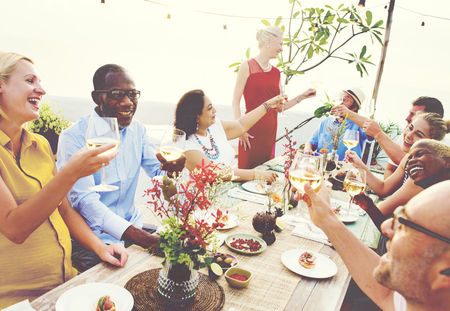diversity: Diverse People Cheers Celebration Food Concept Stock Photo