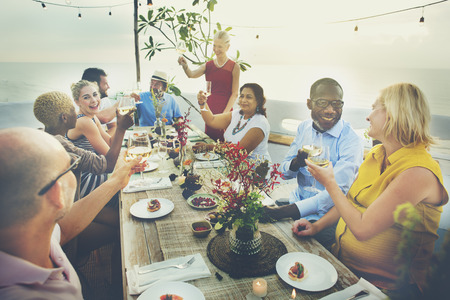 out to lunch: Diverse People Cheers Celebration Food Concept Stock Photo