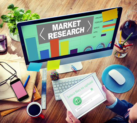 place of research: Market Research Analysis Bar Graph Solution Strategy Concept