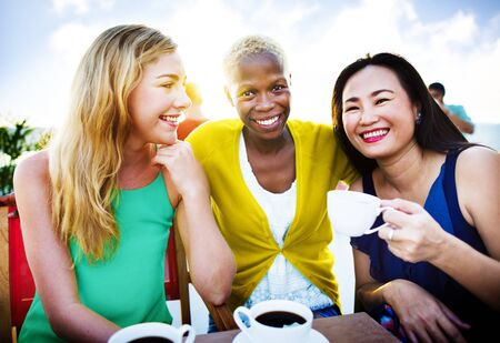 chilling: Girls Coffee Break Talking Chilling Concept