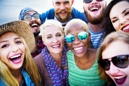 community group: Friends Huddle Cheerful Union Summer Concept