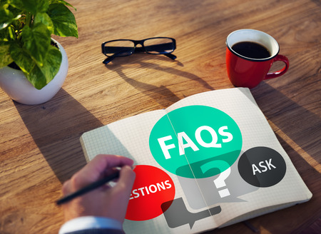 FAQs Frequently Asked Questions Solution Concept 写真素材