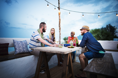 union beach: Diverse Ethnic Friendship Party Leisure Happiness Concept Stock Photo