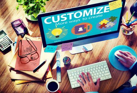 customize: Customize Ideas Identity Individuality Innovation Personalize Concept Stock Photo