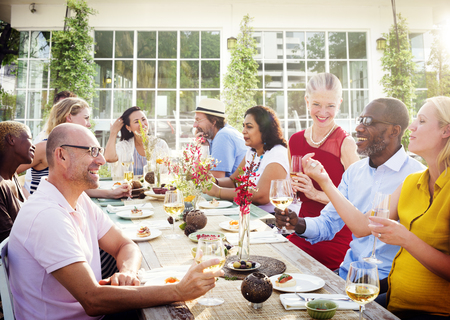 diverse women: Diverse People Luncheon Outdoors Hanging out Concept