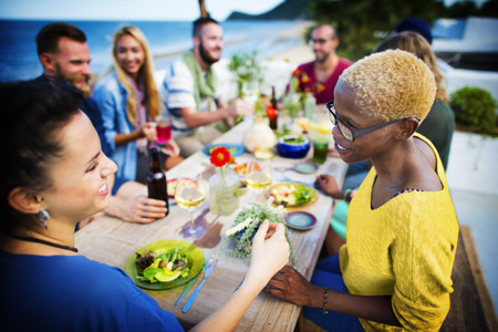 party friends: Beach Summer Dinner Party Celebration Concept Stock Photo