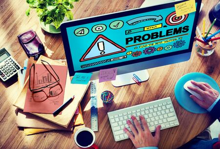 solving problem: Problems Trouble Difficulty Failure Challenge Concept