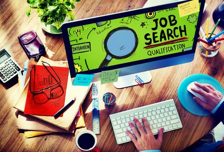 designer: Job Search Qualification Resume Recruitment Hiring Application Concept