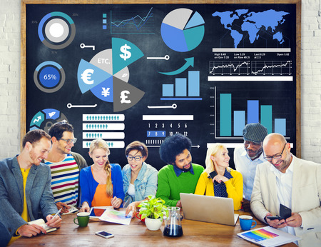 work team: Finance Financial Business Economy Exchange Accounting Banking Concept Stock Photo