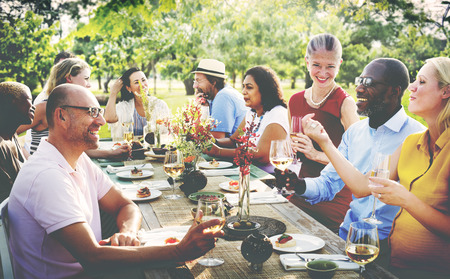 diverse women: Friends Friendship Outdoor Dining People Concept Stock Photo