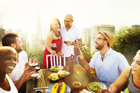 dining out: Couple Friends Dining Summer Celebration Concept