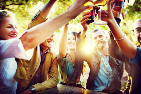 the outdoors: Friends Party Outdoors Celebration Happiness Concept
