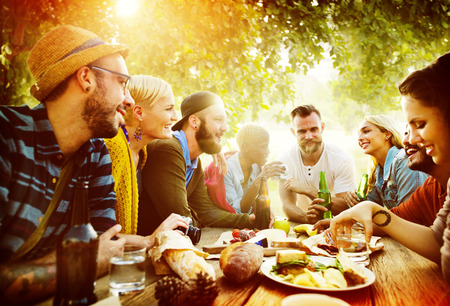 lunch meal: Diverse Yard Summer Friends Fun Bonding Concept