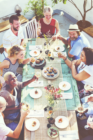 people eating restaurant: Diverse People Luncheon Outdoors Food Concept