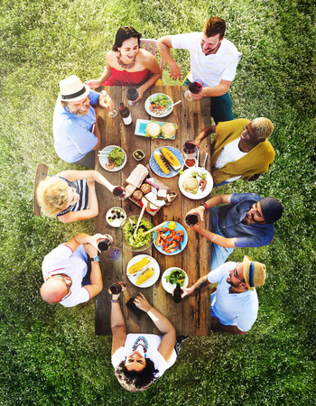 fun: Friends Friendship Outdoor Dining People Concept Stock Photo