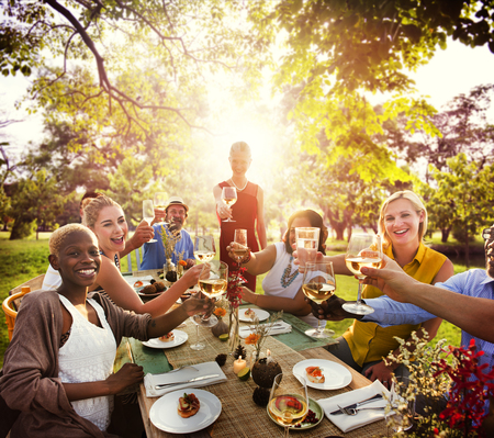out to lunch: Diverse People Party Togetherness Friendship Concept