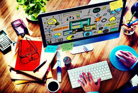 レスポンシブ デザイン対応品質コンテンツ共有オンライン コンセプト