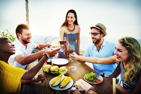 dining out: Beach Cheers Celebration Friendship Summer Fun Dinner Concept
