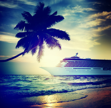 Yacht Cruise Ship Sea Ocean Tropical Scenic Concept Stock Photo
