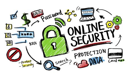 data protection: Online Security Protection Internet Safety Guard Lock Concept Stock Photo