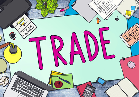 barter: Trade Commerce Exchange Negotiation Economic Concept Stock Photo