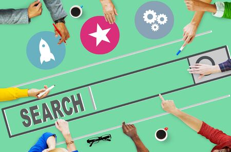 trabajo en equipo: Buscador B�squeda Seo Online Internet Navegaci�n Web Concept