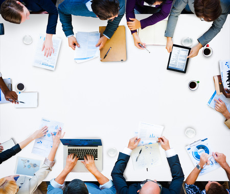 közlés: Sokszínűség Business Team Planning Board Meeting Stratégia Koncepció Stock fotó