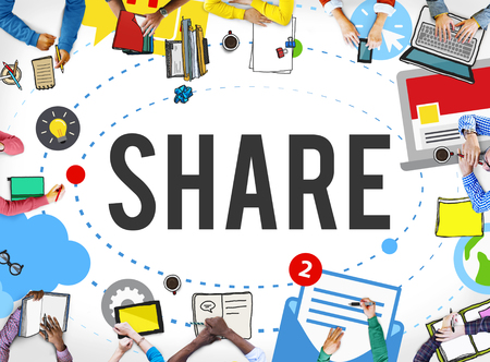 Share Post Media Trending Social Media Concept Banque d'images