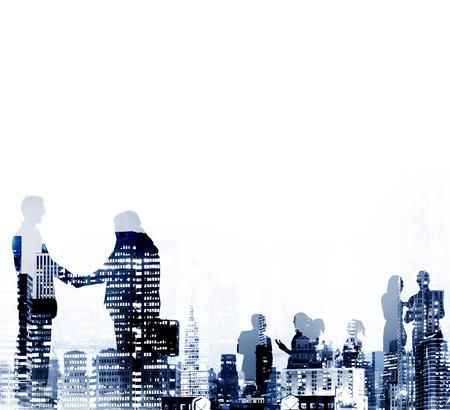place of work: Businessmen Handshake Partnership Agreement Concept Stock Photo