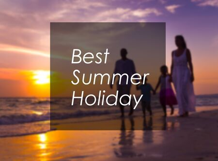 best travel destinations: Family walking on the beach. Stock Photo
