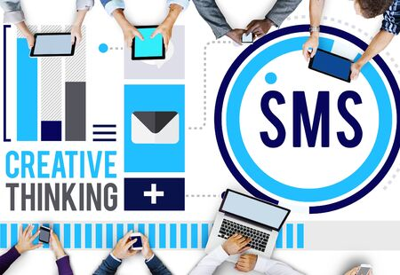 business discussion: Sms Digital Messaging Communication Technology Concept Stock Photo
